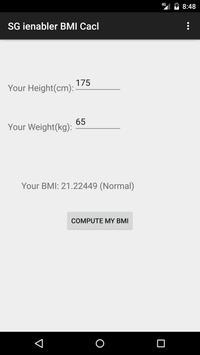 SG ienabler BMI Calc screenshot 1
