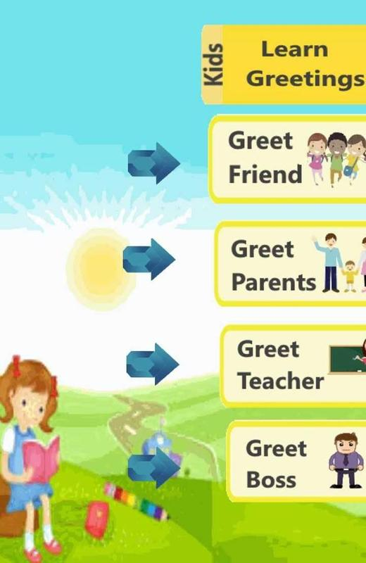 Greetings english for kids apk download free educational game for greetings english for kids poster m4hsunfo