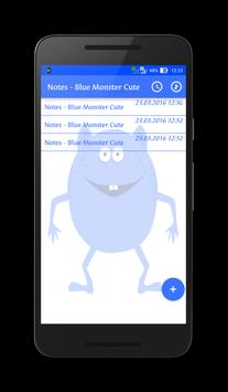 Notes - Blue Monster Cute poster