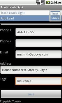 Sales Leads Tracking Lite Free apk screenshot