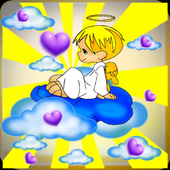Scary angel boy in forest icon