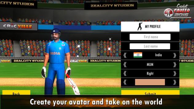 Cricket Career 2016 تصوير الشاشة 7