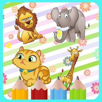 Animals coloring kidsfun poster