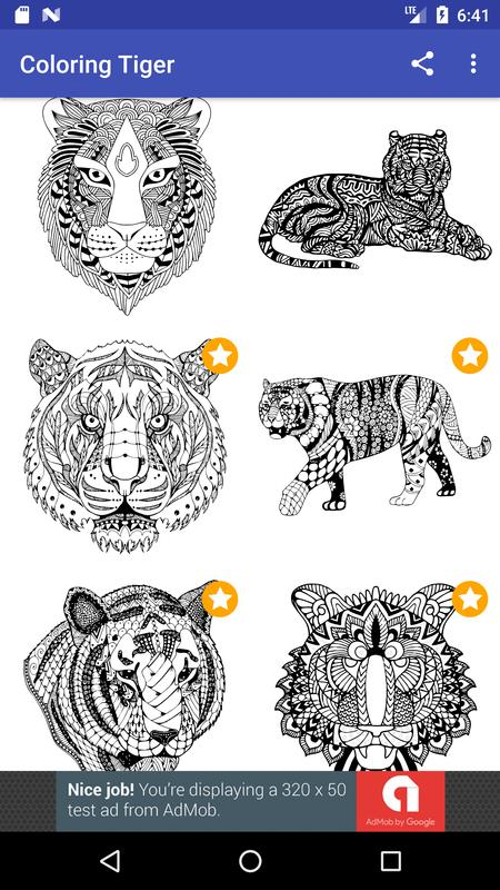 Tiger Coloring Book For Adults 2017 Free Poster
