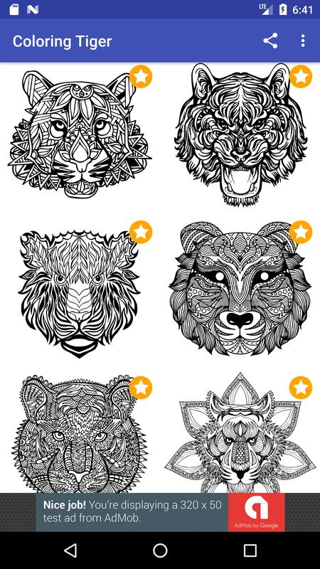 Tiger Coloring Book For Adults 2017 Free Apk Screenshot