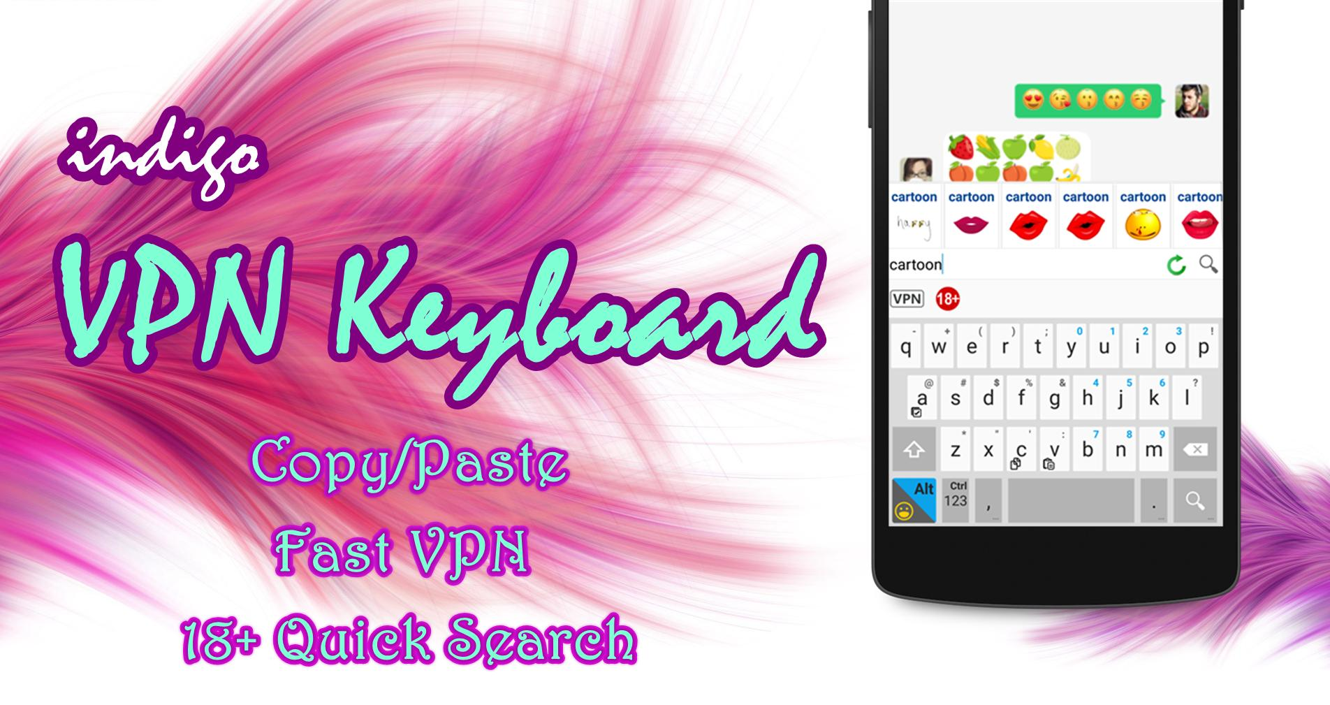 indigo VPN Keyboard - emoji, copy/paste & VPN Exp for