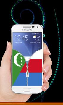 Comoros flag zip Lock Screen screenshot 2