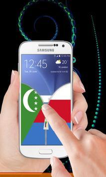 Comoros flag zip Lock Screen screenshot 1