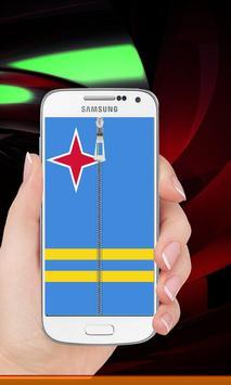 Aruba flag zipper Lock Screen screenshot 5