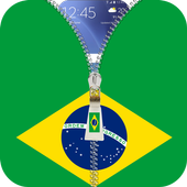 Brazil flag zipper Lock Screen icon