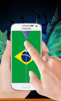Brazil flag zipper Lock Screen poster