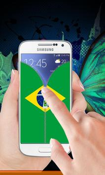 Brazil flag zipper Lock Screen screenshot 1