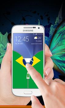 Brazil flag zipper Lock Screen screenshot 2