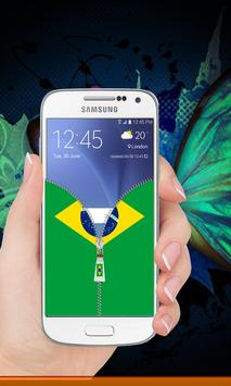 Brazil flag zipper Lock Screen screenshot 4