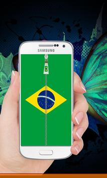 Brazil flag zipper Lock Screen screenshot 6