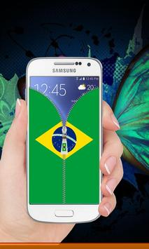 Brazil flag zipper Lock Screen screenshot 8