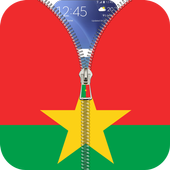 Burkina Faso flag zip Lock icon