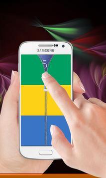Gabon flag zipper Lock Screen screenshot 1