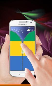 Gabon flag zipper Lock Screen screenshot 2