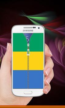Gabon flag zipper Lock Screen screenshot 7