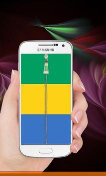 Gabon flag zipper Lock Screen screenshot 6