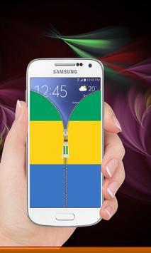 Gabon flag zipper Lock Screen screenshot 8