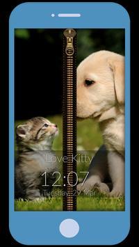 Kitten Love Zipper Lock Screen poster