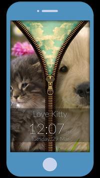 Kitten Love Zipper Lock Screen apk screenshot
