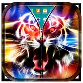Neon Tiger Zipper Lock Screen icon