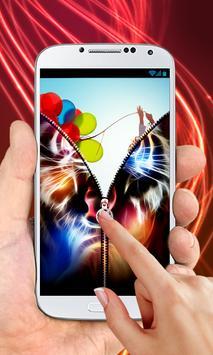 Neon Tiger Zipper Lock Screen apk screenshot