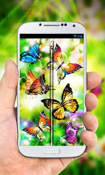 Butterflies Zipper Lock Screen poster