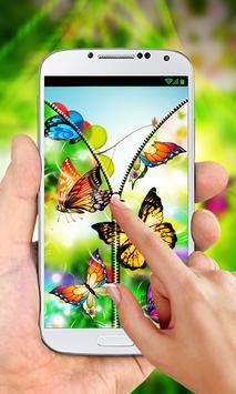 Butterflies Zipper Lock Screen apk screenshot