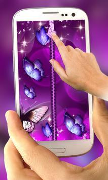 Butterfly Zipper Lock Screen poster