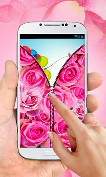 Pink Roses Zipper Lock Screen screenshot 2