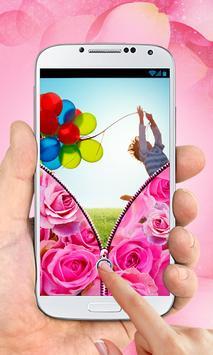 Pink Roses Zipper Lock Screen apk screenshot