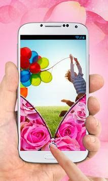 Pink Roses Zipper Lock Screen screenshot 5