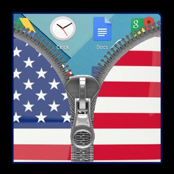 Usa Flag Zipper Lock Screen apk screenshot