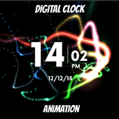 Splash neon lightning - Digital clock animation icon