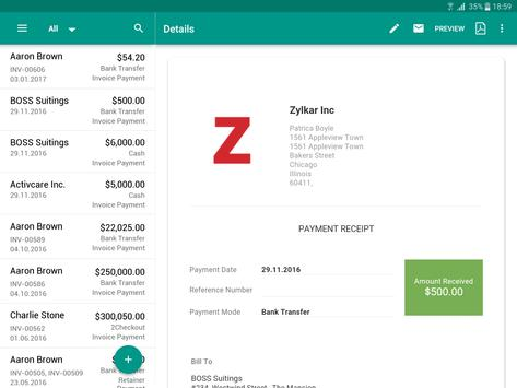 Invoice Time Tracking Zoho APK Download Free Business APP For - Invoice software for android