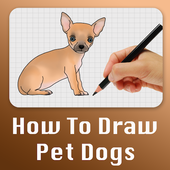 How to draw dogs step by step icon