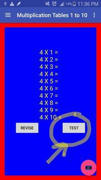 Multiplication Tables 1 to 10 apk screenshot