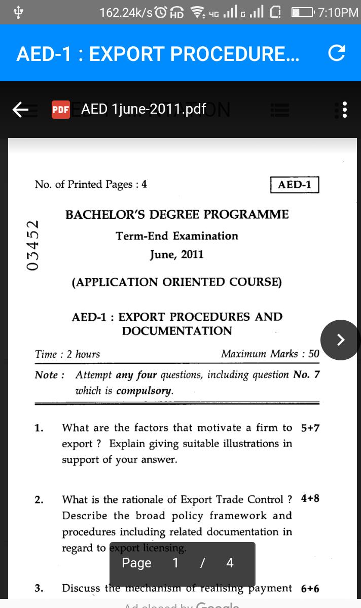 Previous years Question Papers IGNOU BA PDF for Android