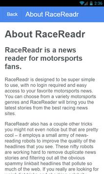 RaceReadr Free apk screenshot
