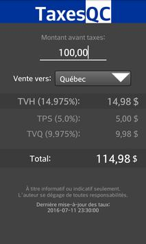 TaxeQC Calculateur TPS/TVQ/TVH poster