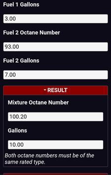 Fuel Octane MixBlend Calculator screenshot 1