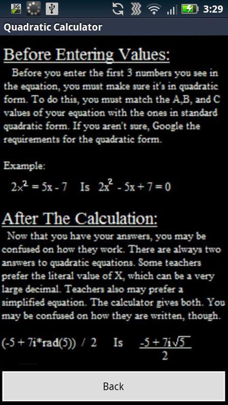 Quadratic Equation Calculator Apk
