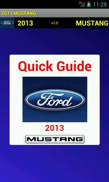 Quick Guide 2013 Ford Mustang poster
