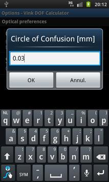 Vink DOF Calculator Lite screenshot 1