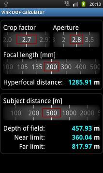 Vink DOF Calculator Lite screenshot 3