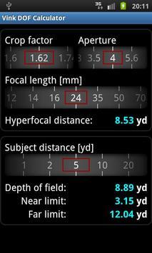 Vink DOF Calculator Lite screenshot 4
